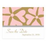 Ahorre la fecha - rosa y postal del boda del oro