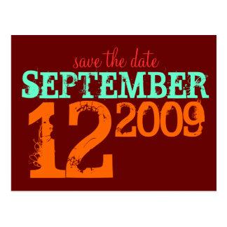 Ahorre la fecha tarjeta postal