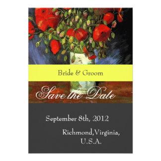 Ahorre la fecha, Vincent van Gogh, amapolas rojas Invitacion Personal