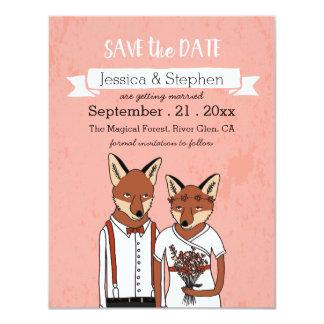 """Ahorre la fecha - zorros en tarjeta del amor invitación 4.25"""" x 5.5"""""""