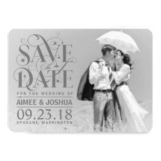 Ahorre la foto de la fecha - capa gris invitación 11,4 x 15,8 cm