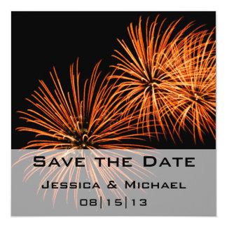 Ahorre la invitación de los fuegos artificiales 2 invitación 13,3 cm x 13,3cm