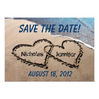 Ahorre la invitación del boda de playa de la arena