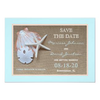 Ahorre la invitación del boda de playa de la fecha