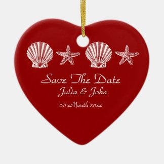 Ahorre la invitación del tema de la playa del boda ornaments para arbol de navidad