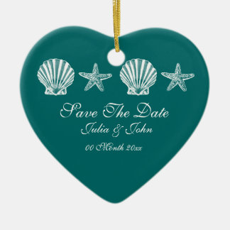 Ahorre la invitación del tema de la playa del boda ornamentos de navidad