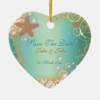 Ahorre la invitación del tema de la playa del boda ornamento para arbol de navidad