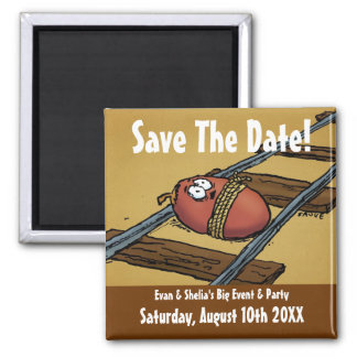 Ahorre la invitación divertida de la fecha imán cuadrado