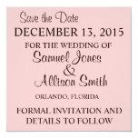 Ahorre la invitación rosada simple del boda de la