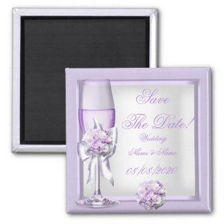 Ahorre la lila púrpura 3 de la lavanda del boda de imán cuadrado