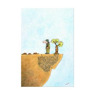 Ahorre la lona envuelta dibujo animado de los árbo impresión en lona estirada