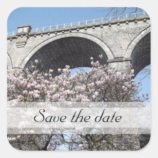Ahorre la magnolia de la fecha bajo pegatina del