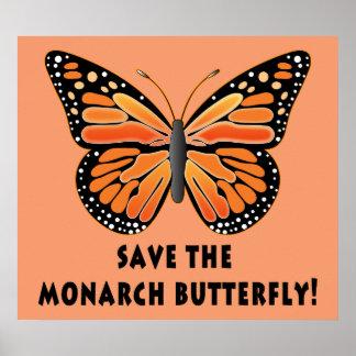 Ahorre la mariposa de monarca póster
