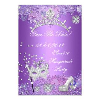 """Ahorre la mascarada púrpura 16 del dulce dieciséis invitación 3.5"""" x 5"""""""