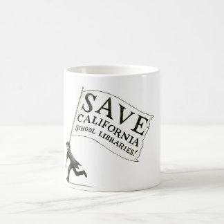 Ahorre la mercancía de las bibliotecas escolares taza de café