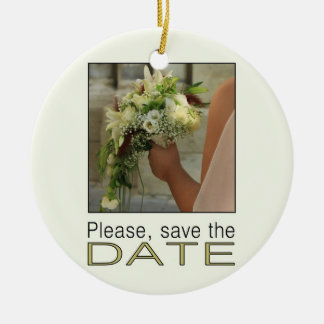 Ahorre la novia y el ramo de la fecha adorno navideño redondo de cerámica