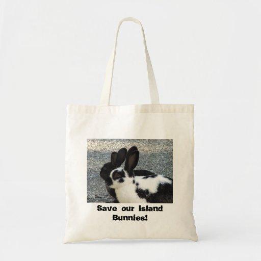 Ahorre la nuestra bolsa de asas de los conejitos d