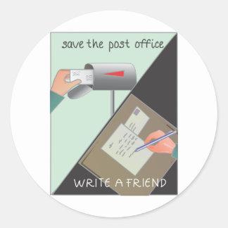 Ahorre la oficina de correos/escriba a un amigo pegatina redonda