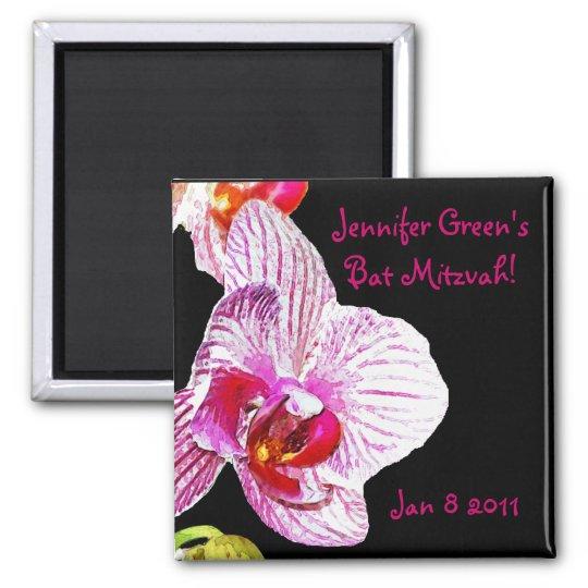 Ahorre la orquídea de Mitzvah del palo de la fecha Imán Cuadrado