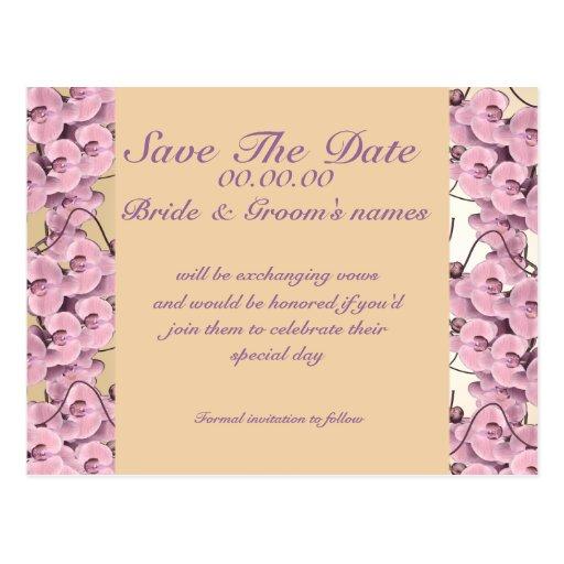 Ahorre la orquídea del rosa de la fecha - tarjeta postal