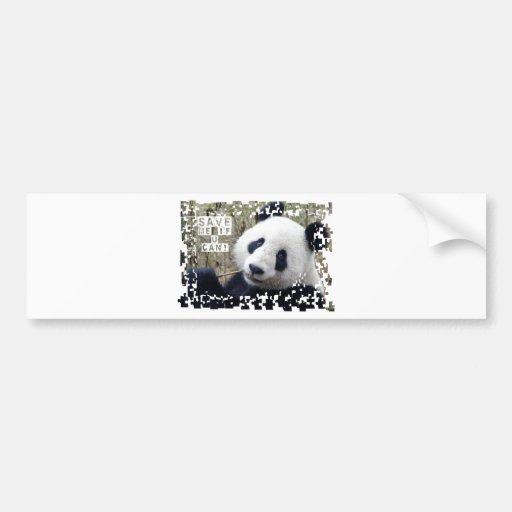 Ahorre la panda gigante pegatina de parachoque
