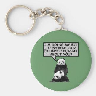 Ahorre la panda llavero redondo tipo pin