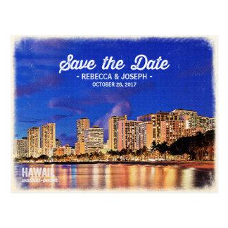 Ahorre la pintura de la playa de Hawaii Waikiki Tarjeta Postal