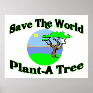 Ahorre la planta del mundo un árbol impresiones
