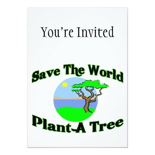 """Ahorre la planta del mundo un árbol invitación 5"""" x 7"""""""