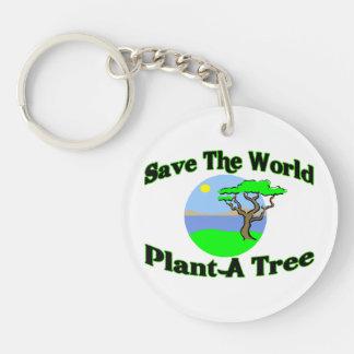 Ahorre la planta del mundo un árbol llavero redondo acrílico a doble cara