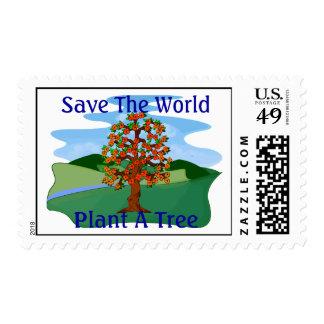 Ahorre la planta del mundo un árbol sello postal