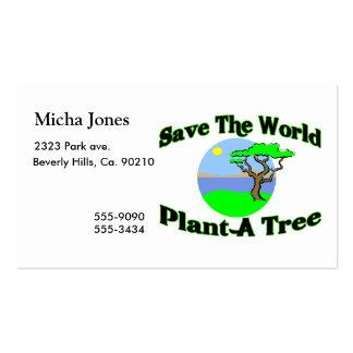 Ahorre la planta del mundo un árbol plantillas de tarjetas de visita