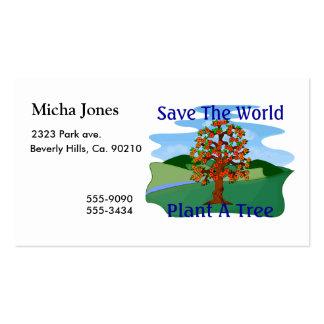 Ahorre la planta del mundo un árbol tarjeta de visita