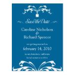 Ahorre la postal azul del boda del ramo floral de