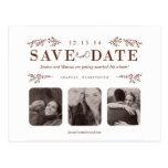 Ahorre la postal de la fecha en marrón