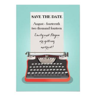 """Ahorre la postal de la fecha - máquina de escribir invitación 5.5"""" x 7.5"""""""