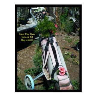 Ahorre la postal de la flor del carro de golf del