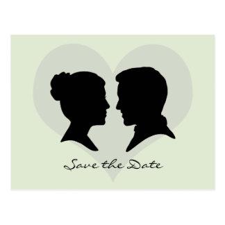 Ahorre la postal de la silueta del boda de la