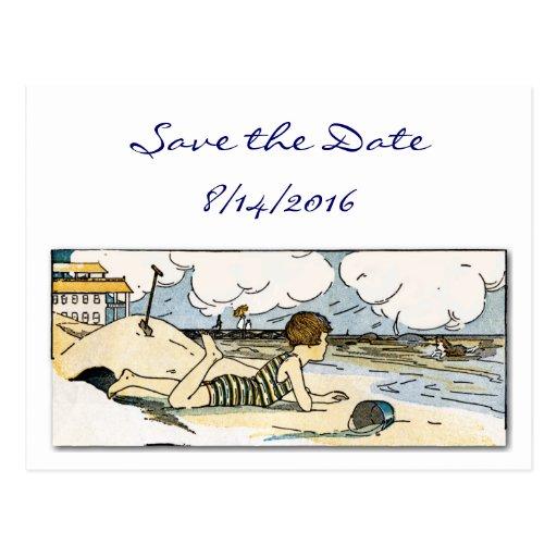 Ahorre la postal del arte de la playa del vintage