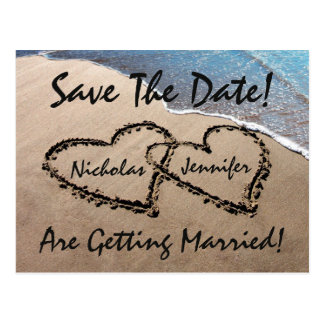 Ahorre la postal del boda de playa de la arena de
