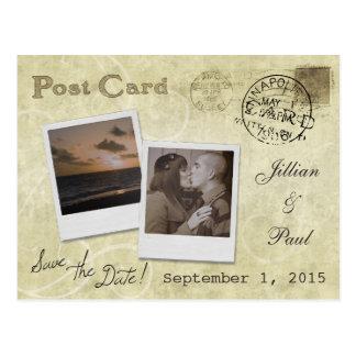 Ahorre la postal del boda del vintage de la fecha