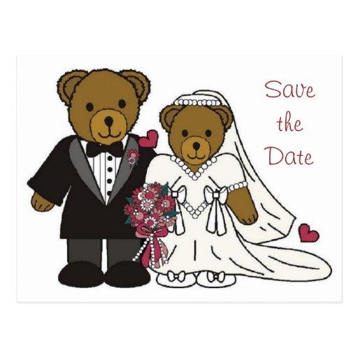 Ahorre la postal del oso de peluche del boda de la