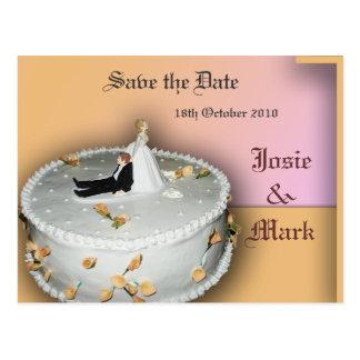 Ahorre la postal del pastel de bodas de la fecha