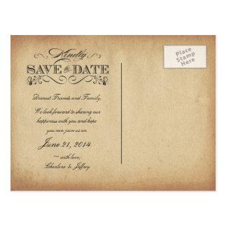 Ahorre la postal del pergamino del vintage de la f