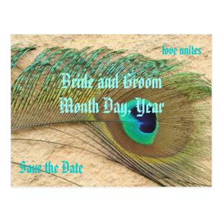 Ahorre la postal del tema del pavo real de la fech