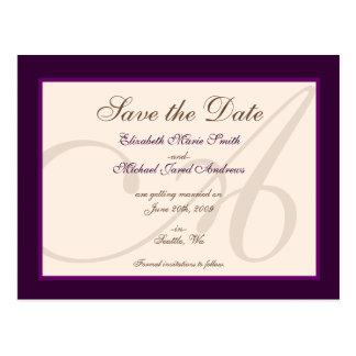 Ahorre la postal elegante de la púrpura del monogr
