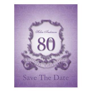 Ahorre la postal personalizada 80.o cumpleaños de