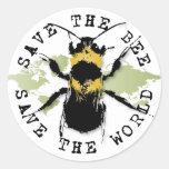¡Ahorre la reserva de la abeja… el mundo! Pegatina Redonda