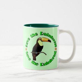 Ahorre la selva tropical taza de café