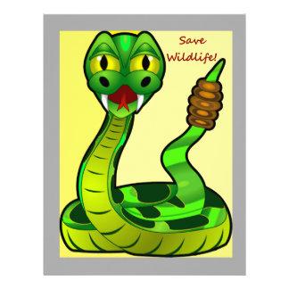 Ahorre la serpiente del traqueteo de la fauna membrete personalizado